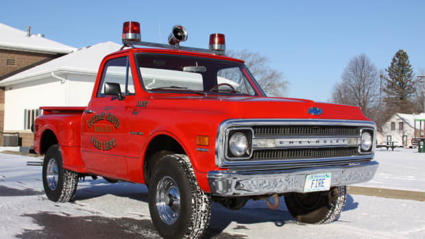 The East Cottage Grove Fire Department bought this 1969 Chevrolet K/10 Custom 4x4 new for fighting brush fires. Today, it has just 13,300 miles and is pictured outside the fire department which it still serves. The only fighting it does today, however, is fighting back hopeful buyers.