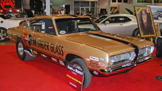 "The famous Hemi Under Glass Barracuda was part of the ""Cars of Hurst"" exhibit in 2010 at the Muscle Car and Corvette Nationals."