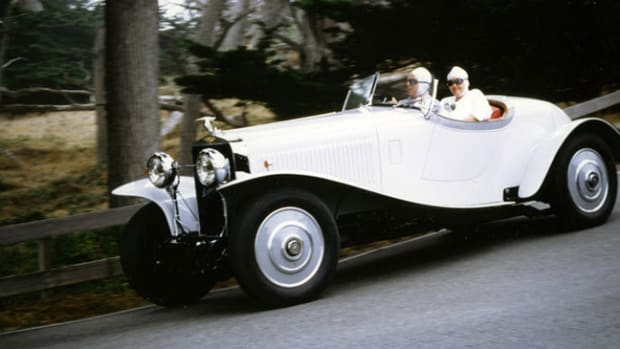 Jules and Sally Heumann in their 1930 Hispano-Suiza H6C MacMinn Boattail Speedster on the very first Tour in 1998