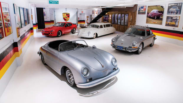 A snapshot of highlights from within The Taj Ma Garaj Collection; from front left to right, 1957 Porsche 356 A Carrera GT Speedster Coachwork by Reutter, 1981 Porsche 924 Carrera GTS Clubsport, 1953 Porsche 356 Limousine Custom, 1967 Porsche 911 S Coupe (Credit – Darin Schnabel © 2019 Courtesy of RM Sotheby's)