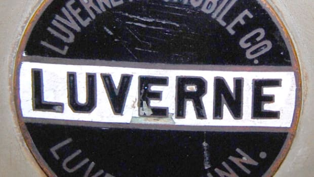 Radiator badge from John Kelsey's Big Brown Luverne Six touring car.