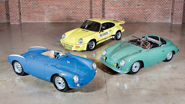 Three highlights from the collection will be on display at the company's Scottsdale Auctions – the 1955 Porsche 550 Spyder, 1958 Porsche 356 A 1500 GS/GT Carrera Speedster and 1974 Porsche 911 Carrera 3.0 IROC RSR