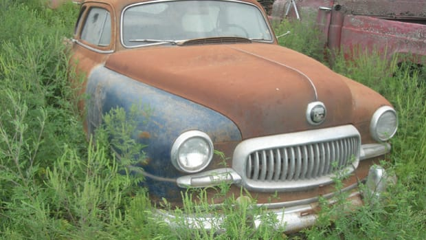 "A ""barn find"" brought to Manthey Salvage, this 1951 Nash Statesman Super two-door sedan now rests not far from its Kenosha, Wis., assembly point some 60-plus years earlier. Its roof is dented, but the car is otherwise complete and solid."