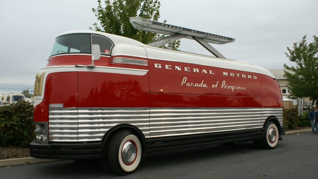 On display at Buick Gallery is the 1953 GM Futureliner No. 10, restored to its original condition. It is owned by the National Automotive and Truck Museum of the United States (NATMUS) located in Auburn, Ind.