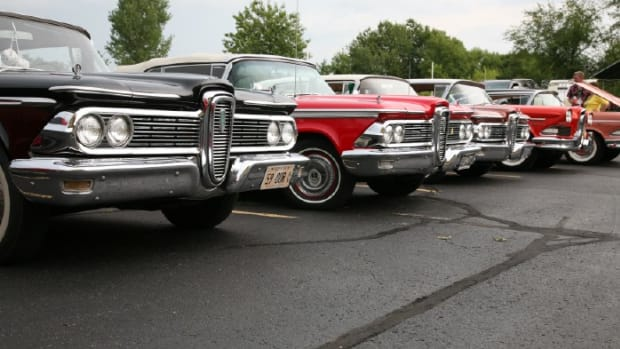 A line of 1959 Edsel automobiles.