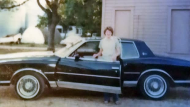 Getting my first car, a Monte Carlo, for high school present. It was a rebuilder from Dad and I loved it.