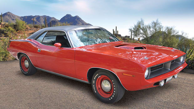 Russo and Steele will offer an authentic 1970 Plymouth Hemi Cuda at its annual Scottsdale event. The car has less than 50,000 miles.
