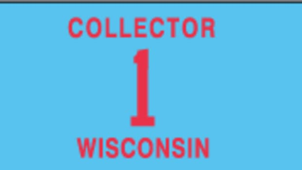 The current Wisconsin collector license plate.