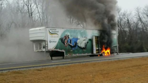 trailer on fire