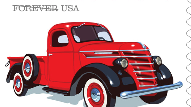 The strong, sturdy, 1938 International Harvester D-2 had a distinct barrel-shaped grille and its elegant styling mirrored the look of luxury automobiles of the era.