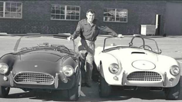 Carroll Shelby; 1964 production Cobra and Cobra race car. Photo: Ford Motor Company