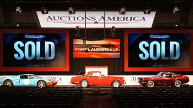 """Highlights from Auctions America's most successful Fort Lauderdale sale to date, (L-R) 2006 Ford GT Heritage Edition, 1959 Ferrari 250 GT Coupe, and the 1964 ½ Ford Mustang III """"Shortly"""" Factory Prototype (courtesy Auctions America)."""