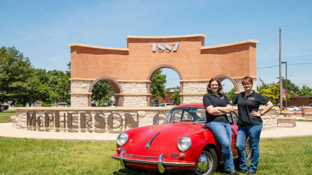 Abigayle Morgon, left, and Amanda Guiterrez, right, with the 1965 Porsche they will drive on the tour.