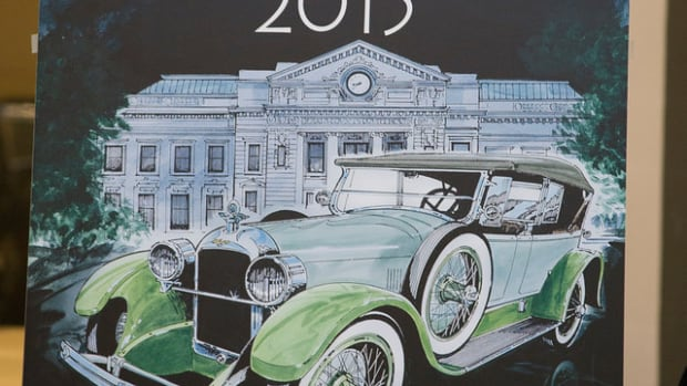 """Kicking off 2015 and the """"Year of the Duesenberg"""" was done in great style as Auburn resident, John Souder, unveiled this year's poster artwork. The 2015 poster features a green hued 1923 Duesenberg on loan to the Auburn Cord Duesenberg Automobile Museum perched perfectly in front of the DeKalb County Courthouse."""