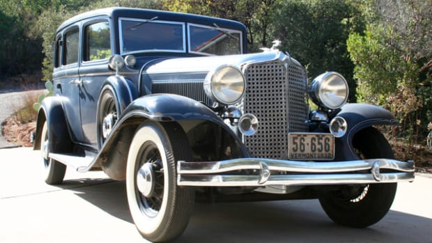 With 3,198 sold, the five-passenger sedan was by far the most popular of the five 1932 Chrysler Eight models. Owner Bob Wagner duplicated the factory-optional stone guards on the V-shaped radiator grille of his car.