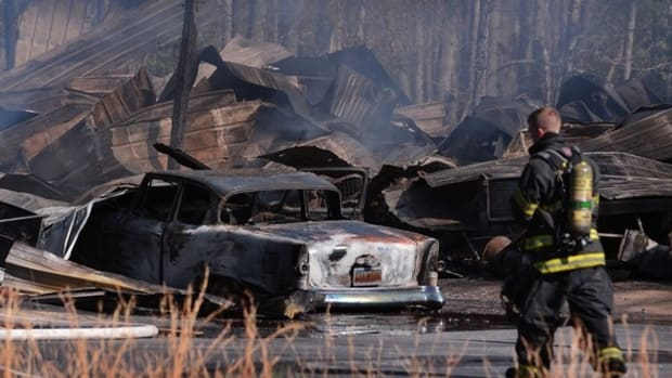 Fire destroyed 50 Studebaker cars in David Walker's collection on Wednesday, Feb. 6, in Chesnee, S.C. (Photo courtesy upstate.com)