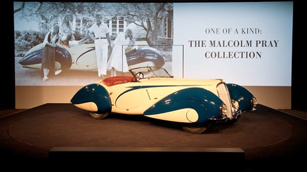 Malcolm Pray's top-selling 1937 Delahaye 135 Competition Court Torpedo Roadster (Darin Schnabel © 2014 Courtesy of RM Auctions)
