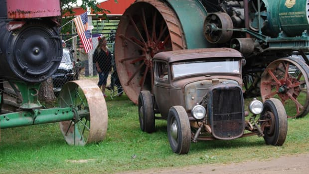 Traditional tractors and traditional hot rod.