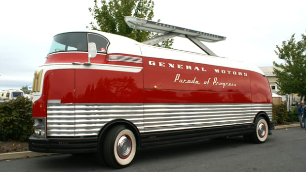 A 1939 GM Futurliner owned by the National Auto & Truck Museum is in the nation's capital awaiting its appearance at the Washington Auto Show in January.