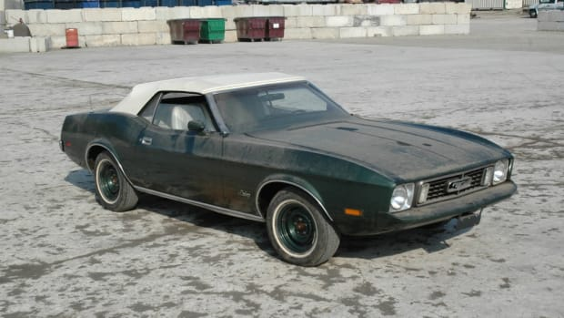 The 1973 Mustang with 40-some years of dust.