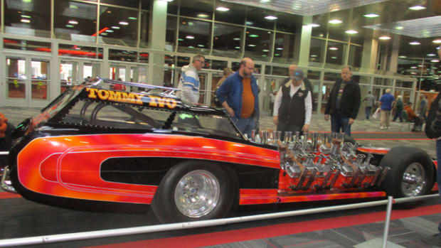 "You never know what crazy machines will show up at the Muscle Car and Corvette Nationals. Above: Four Buick ""nailhead"" V-8s power this insane ""TV Tommy"" Ivo dragster. Below: As usual, the show featured plenty of classic Corvettes."