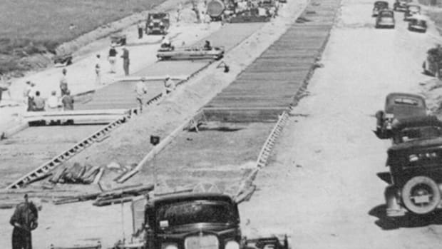 Thanks to 15,000 workers from 155 contractors in 18 different states, it took just 23 months and five days to complete the Pennsylvania Turnpike following the formal groundbreaking on October 27, 1938. At the project's peak there were over 50 paving units laying up to three-and-a-half miles of concrete a day.
