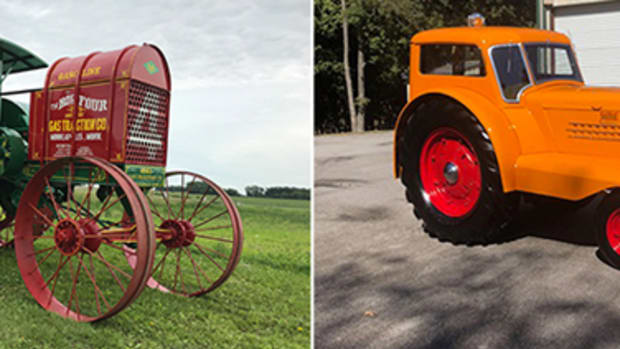 Gas Traction Company Big Four 30 at $315,000 and Minneapolis-Moline UDLX Comfortractor at $157,500. Photos Mecum Auctions