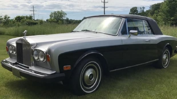 1981 Rolls-Royce Corniche convertible, 15,707 actual miles, classic blue over silver exterior; black interior
