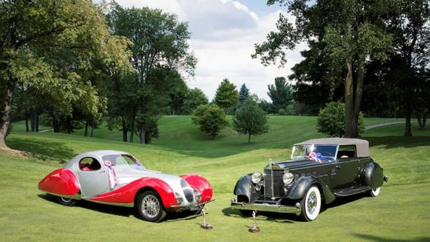"Best of Show at the 2016 Concours d'Elegance of America at The Inn at St. John's in Plymouth, Mich., went to this duo, a 1934 Packard convertible victoria by Dietrich with one-off pontoon-type fenders and the 1937 Talbot-Lago 150 CSS with ""teardrop coupe"" coachwork by Figoni et Falaschi."