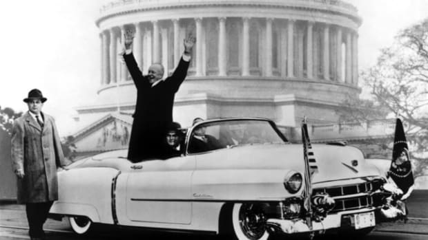 Eisenhower celebrating his inauguration in the 1953 Cadillac.