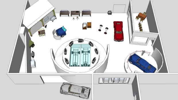 Overall concept and floor plan for the Cammack Tucker Gallery at the AACA Museum.