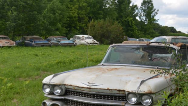 A view of the stash of Cadillacs in the Brown Collection. The cars suffered significant raccoon damage within the barn where they were stored and before the sale, Yvette VanDerBrink had the cars moved outside.