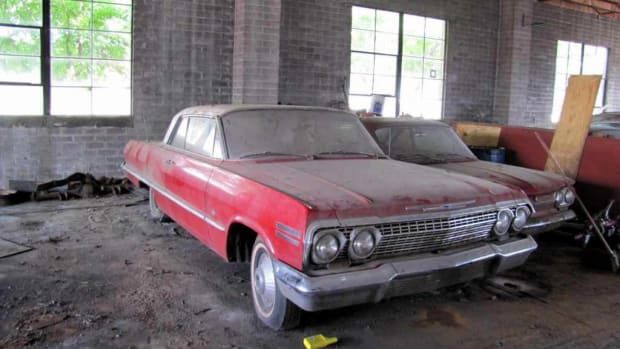 1963 Impala Sport Coupe inside Lambrecht Chevrolet in Pierce, Nebraska, in 2013.