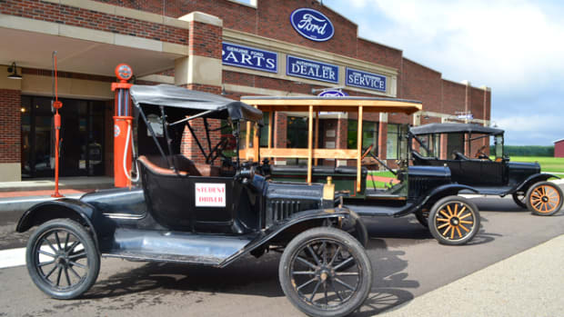 "The Gilmore Car Museum has a fleet of seven authentic Model T Fords that are utilized in their ""Old School"" driving classes. Shown are a 1915 Runabout, 1917 Touring car and 1919 Depot Hack. Photo - Gilmore Car Museum"