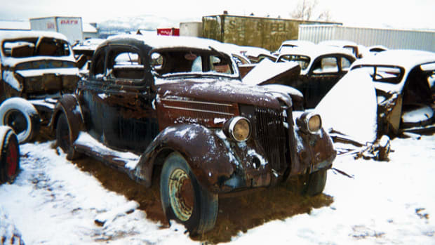 Rust-free coupes are a rare sight in salvage yards, and this 1936 Ford Standard five-window example is a restorer's dream project. Sewer Flats Salvage has a deep inventory of both cars and parts for popular '30s Fords.