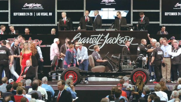 The 1932 Ford chassis as it crossed the Barrett-Jackson auction block.
