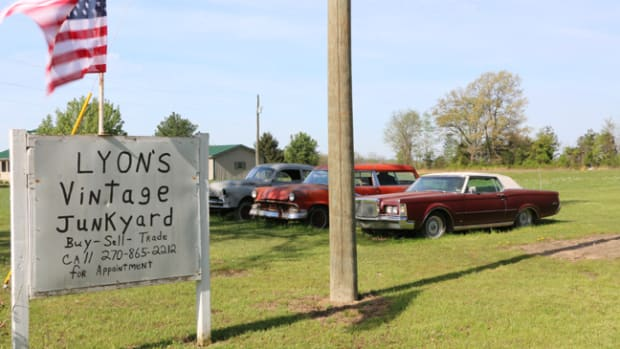 Lined up behind the entrance sign to Lyon's Vintage Junkyard are three project cars for sale: a 1949 Pontiac two-door sedan, a 1956 Ford Parklane station wagon and a 1969 Lincoln Continental Mark III. The Pontiac and Parklane have sold since our visit.