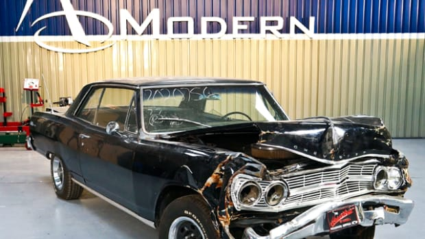 "American Modern Insurance is mating the wrecked 1965 Malibu body (above) from a satisfied customer claim to the chassis of a burned GTO from another claim to create ""The Build"" (below), which will be used to promote the insurer."