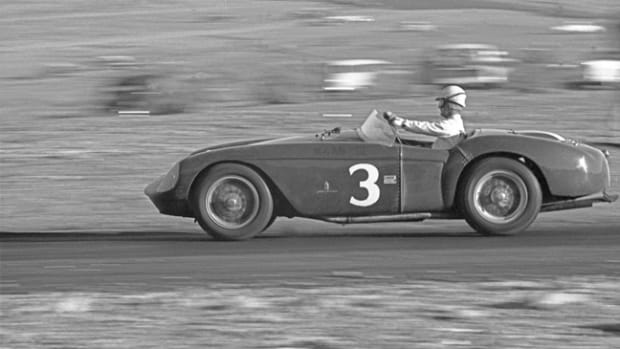 Pat O'Connor behind the wheel of 0448 MD at Willow Springs in March of 1956 (Courtesy of Allen R. Kuhn)