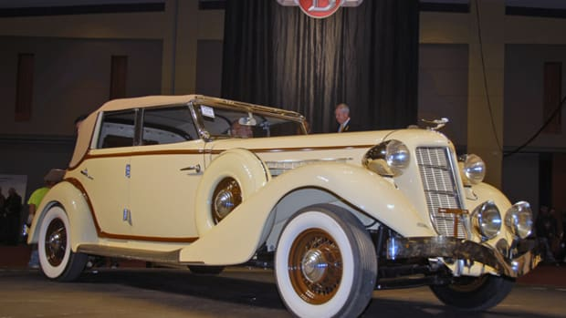 The top-selling car at the fall Branson Auction was this 1936 Auburn 852 Phaeton Sedan, called sold at $97,000.