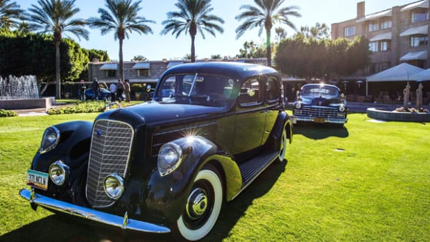 "1937 Lincoln followed by 1947 Cadillac at the Biltmore during recent ""dry run"" site testing. (Michael Tobian photo)"