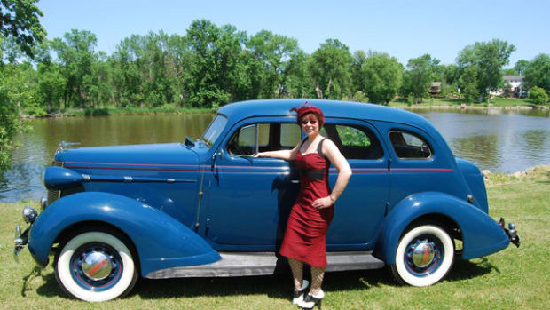 "Ann Marie Olson likes to wear hats and period dress when she drives ""Walt"" to car shows like Mike Spangler's ""Graduation Party."""