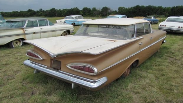 There are two miles on this 1959 Bel Air Sport Sedan.