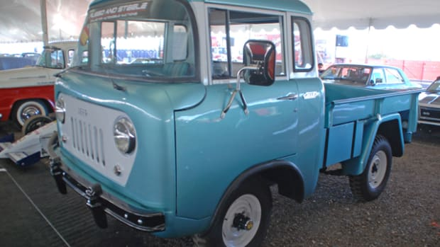 Rarely seen at auction is this 1960 Jeep FC170 pickup, one of three examples to be offered at Russo & Steele.
