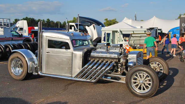 Leno's Piss'd Off Pete hot rod put in an appearance at the Eau Claire, Wisconsin, Big Rig Show last August. Wonder if we can get the owner back to the Badger State for the Iola Old Car Show? (www.iolaoldcarshow.com)