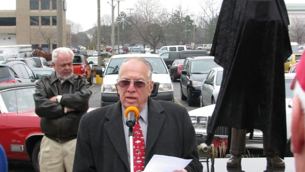A speaker at the statue unveiling was Lawrence R. Gustin, a Flint native and retired Buick public relations assistant director, who wrote the first biography of Buick.