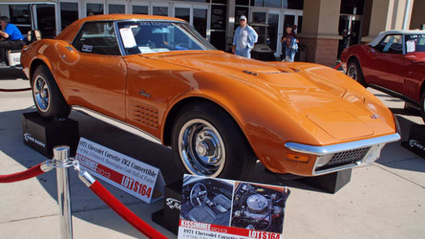Among the 400+ Corvettes in Kissimmee, none are more rare or desired than this 1971 ZR2 convertible, 1 of only 2 built and the last LS6 454 cid V8's produced. Slated to run Saturday, watch for an all-time record price.