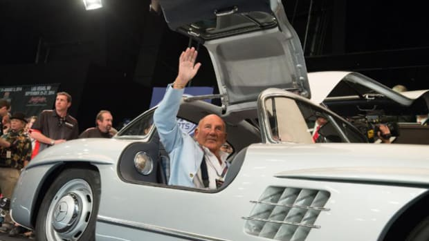 With Sales Exceeding $113 Million, Setting Company Record and Breaking World Records, Sir Stirling Moss, in 1955 300SL Gullwing, Crosses the Block in Third-Highest Selling Car at Barrett-Jackson 43rd Annual Scottsdale Auction. (PRNewsFoto/Barrett-Jackson)