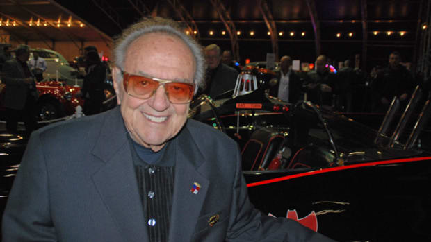 King of the Customizers George Barris was on hand at Barrett-Jackson Gala showing his Batmobile to prospective bidders.