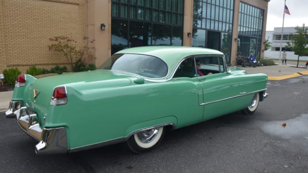 Spectators could get rides in vintage Cadillacs during the Saturday concours. Kids and adults alike rode in the passenger seat of this 1955 Coupe deVille.